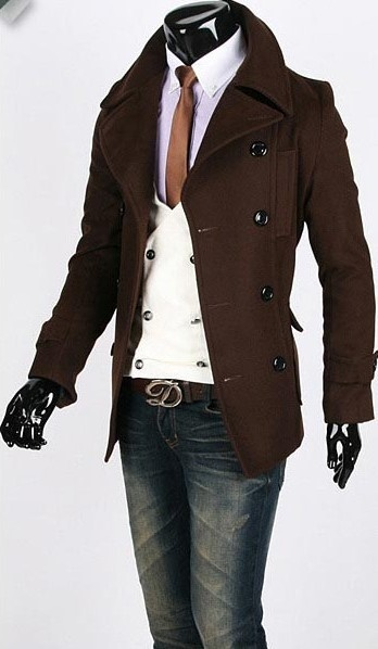 Brown peacoat