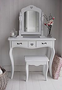 Dressing Tables - White Dressing Table, Mirror, Stool Set - The White Lighthouse