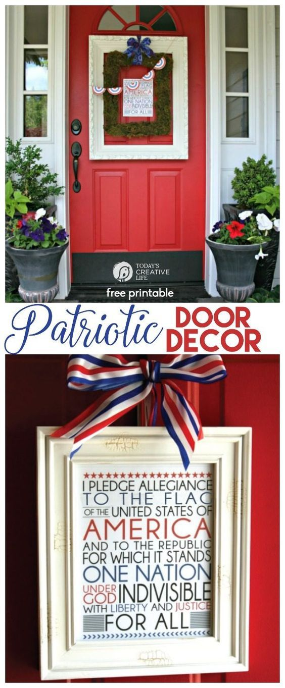 4th of July Printable |I love my patriotic door decor using this free printable. Download your free copy. 733 Blog for Today's Creative Life