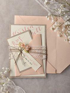 Glamorous Blush Wedding Ideas to Inspire - blush wedding invitation idea