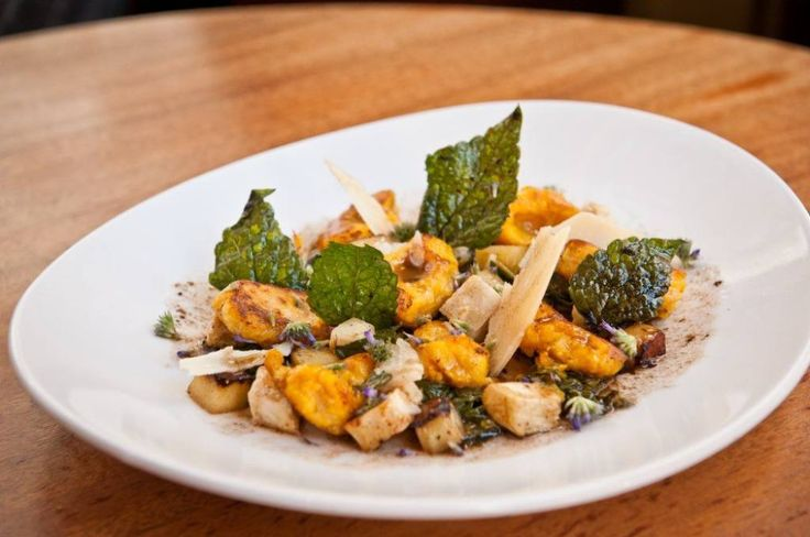Butternut Squash Gnocchi (roasted Brussels sprouts and apples, kale ...