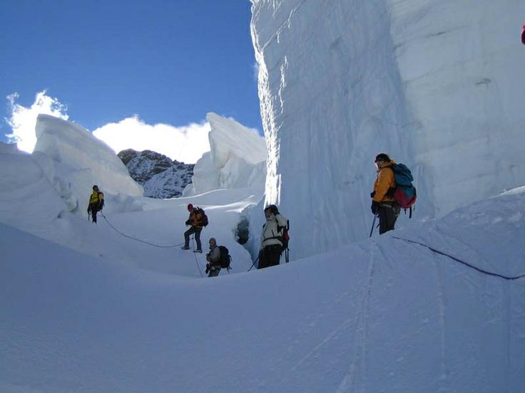 Mt. Bernina, walking among ice
