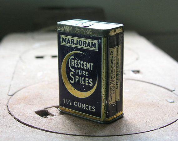 Vintage marjoram spice tin