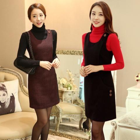 Winter bottoming dresses winter woolen dress sleeveless winter thickening women new dress casual plus size winter dresses MDM254