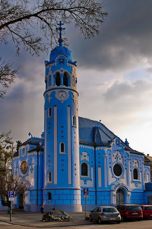 Slovakia. If you go in Bratislava, do not miss this blue church. It is a really fascinating church because of its color and style. Its looks like coming from a fairy tale and make of gingerbread. It not far from the pedestrian area in the center and worth the walk.