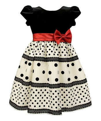 Black & White Dot Velvet Dress - Toddler & Girls
