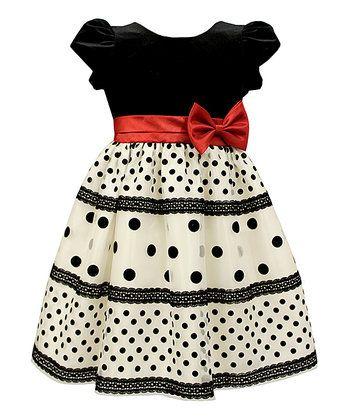 Black & White Dot Velvet Dress - Toddler & Girls