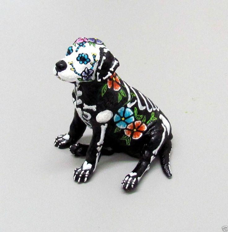 Day of the Dead Painted Sugar Skull Dog Statue Labrador Dia De Los Muertos
