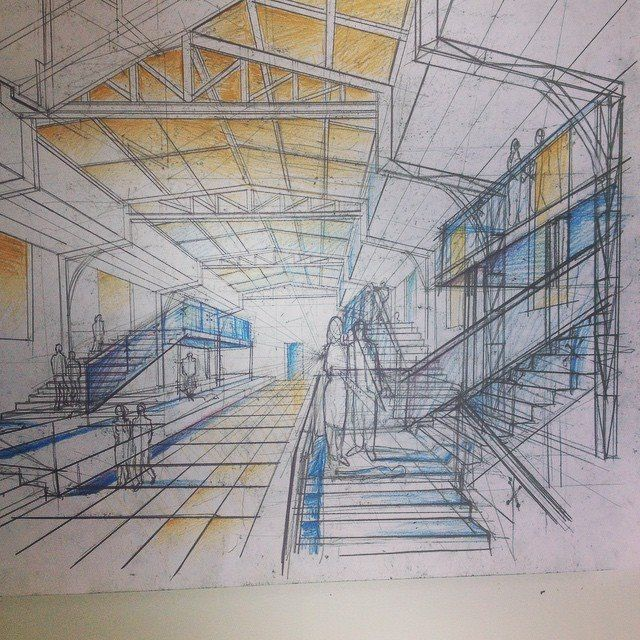 One-point perspective is your best option for representing interior spaces. That's because it shows three sides of any interior space (much more than a two-point perspective could) So, on a scale of 1 to 10 how familiar are you with constructing a one-point perspective?