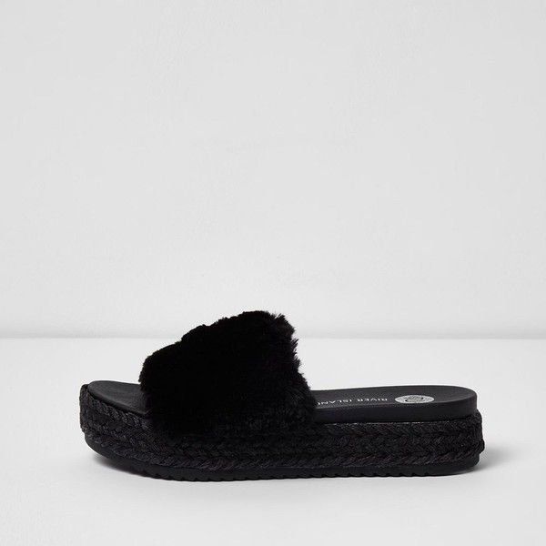 River Island Black fluffy espadrille sliders ($80) ❤ liked on Polyvore featuring shoes, sandals, black, shoes / boots, women, slip on shoes, slip-on shoes, mid-heel sandals, open toe sandals and mid heel sandals