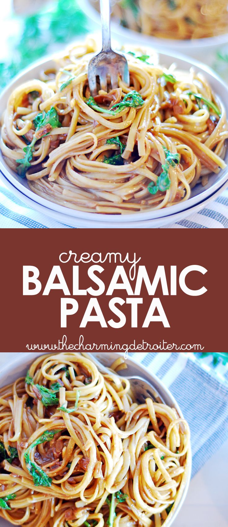 This creamy balsamic pasta makes for a super simple side dish - perfect for weeknights when there just isn't time to cook!