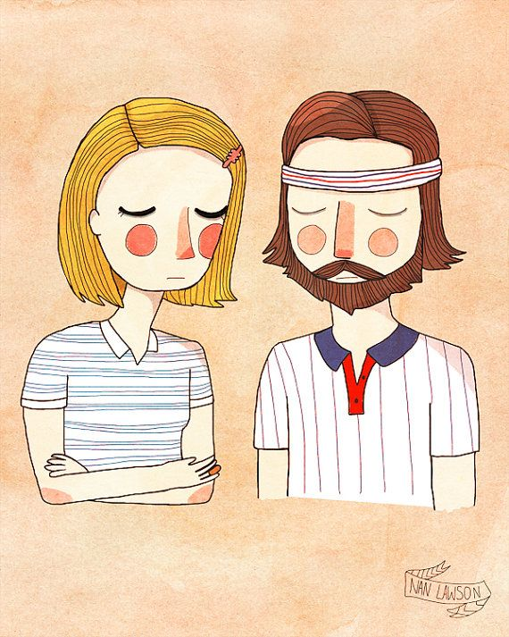 Segretamente innamorato - illustrazione stampa - The Royal Tenenbaums - Margot and Richie