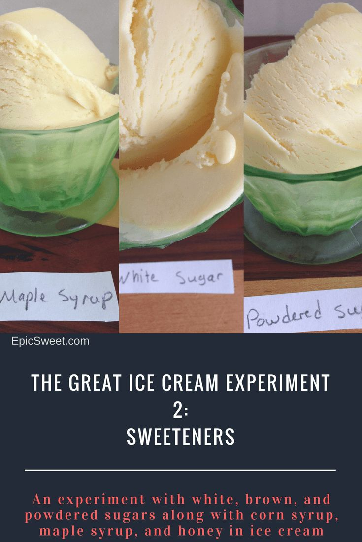 The Great Ice Cream Experiment 2: This is an experiment with homemade custard ice cream using different kinds of sweeteners: maple syrup, corn syrup, honey, white sugar, powdered sugar, and brown sugar. What's your favorite?
