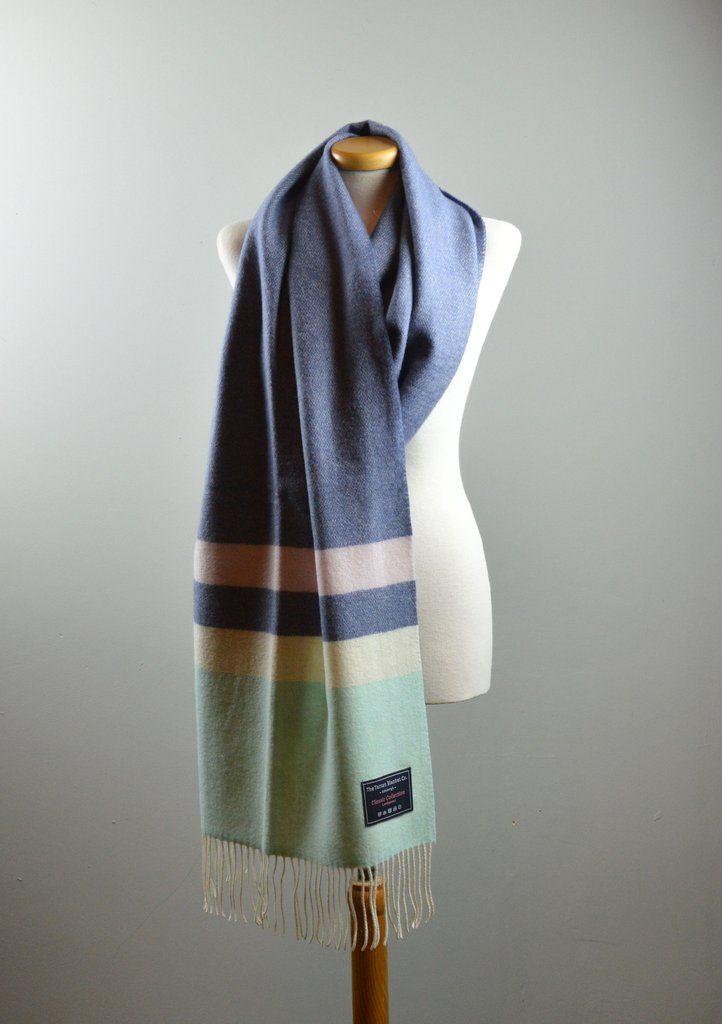 Classic Lifestyle Lambswool Blanket Scarf in Slate Blue Block Stripe