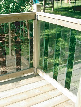 Unlike other railing systems, these panels provide an unobstructed view of your yard. Made of clear tempered glass surrounded by treated pine railing, these panels will provide your deck with the perfect lookout.