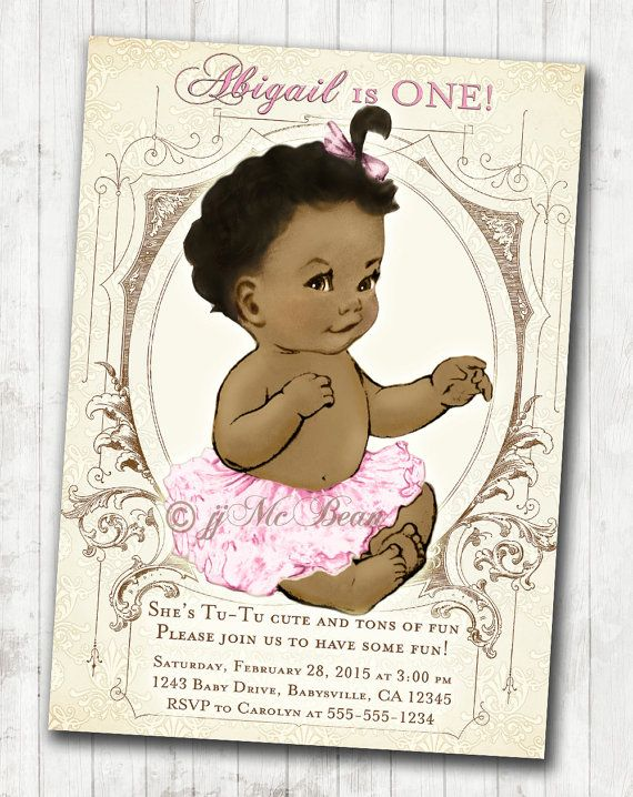 Best Babys Birthday Invitations Images On Pinterest For - Vintage girl birthday invitation