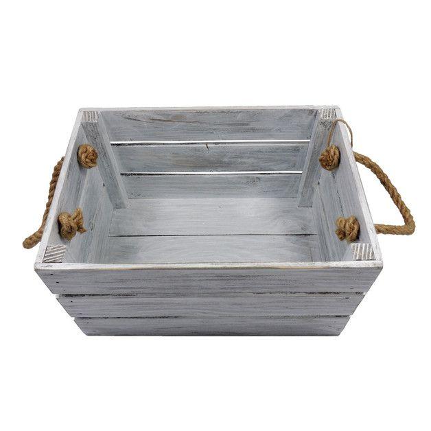 Skrzyneczka drewniana z uszami 20x31 Biało Szara - marka LAAU - Skrzynki i pudełka, Shabby chic.