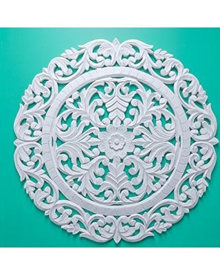 """Fetco Home Decor Fetco Home Decor Leroy Handcrafted Round Wall Medallion, 36"""", Floral, Distressed White from Amazon   BHG.com Shop"""