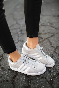 Grey Adidas + black jeans.