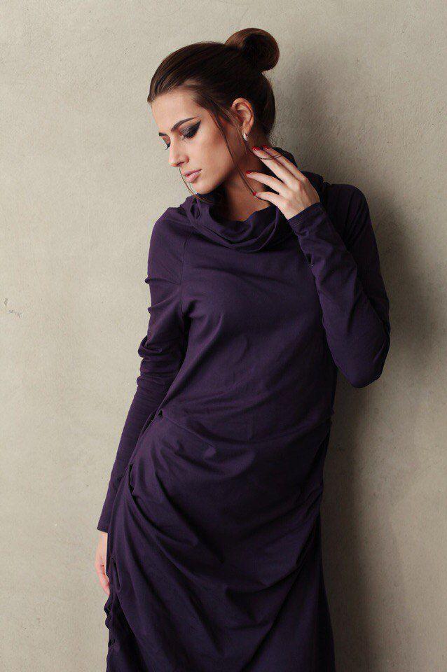 """Купить Платье """"Zash - Фиолетовая птица"""" - тёмно-фиолетовый, платье, длинное платье, фиолетовое платье"""