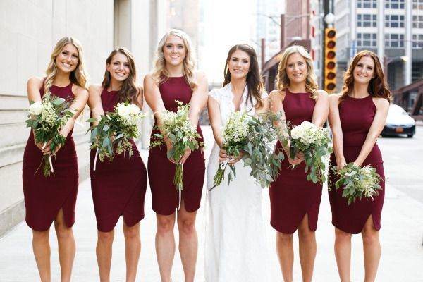 Marsala and white work wonderfully together! | See more on http://www.youmeantheworldtome.co.uk/friday-five-bridesmaid-dress-trends-2015/ Photography by Azuree Wiitala on Style Me Pretty