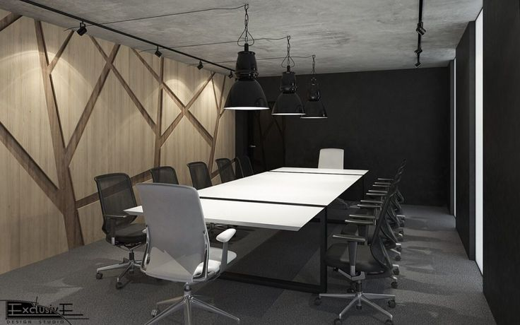 Дизайн комнаты для совещаний. Мебель сделана из дерева