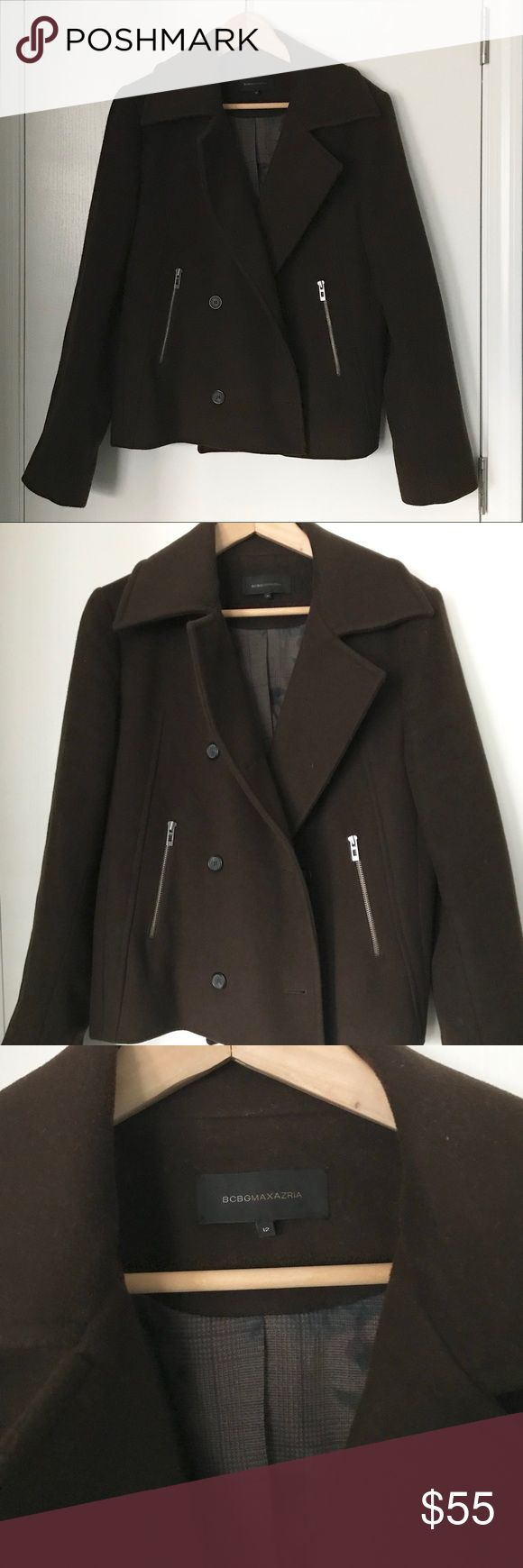 BCBG Wool Cashmere Pea Coat in EUC Gorgeous and soft wool cashmere pea coat in excellent condition. Beautiful floral lining. Silver zipper detail. Add this jacket to your fall or winter wardrobe. BCBG Jackets & Coats Pea Coats