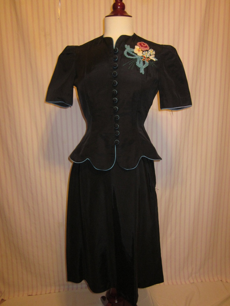 1940s Ladies Suit with Turquiose trim and Chenille Flowers. $175.00, via Etsy.