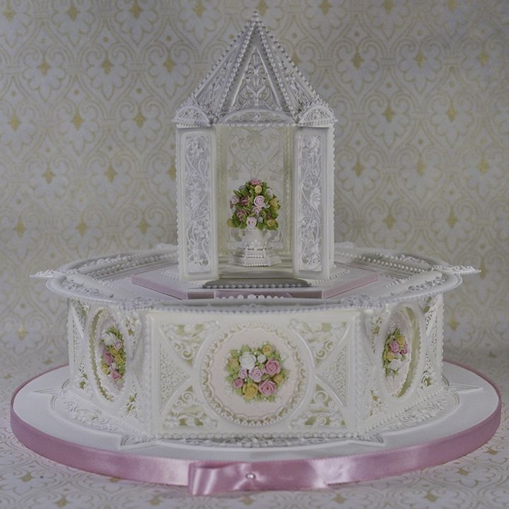Royal icing paneled cake with royal icing gazebo. Based on ...