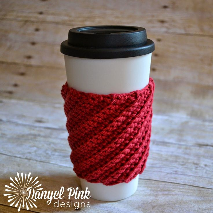 Back stitch crochet coffee cozy.  By Danyel Pink Designs