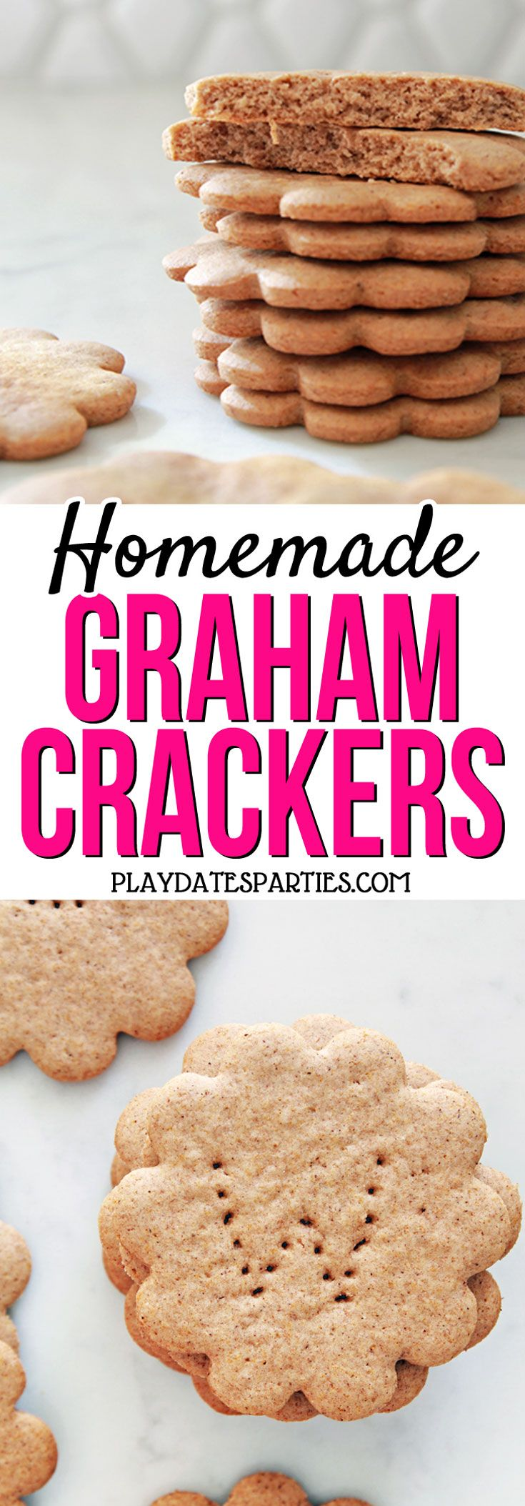 You AND the kids will be thrilled with these homemade graham crackers made with honey and cinnamon. Head over to playdatesparties.com to get the recipe, tips and tricks, and to find out how the kids can get involved in making them too!  #cookingwithkids #kidfriendly #baking #recipe
