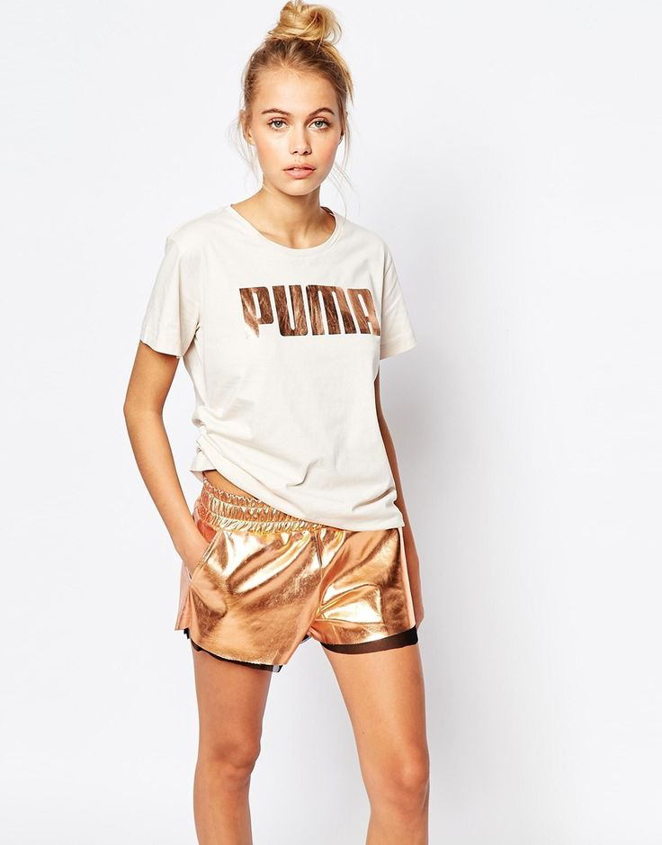Image 1 of Puma Oversized Boyfriend T-Shirt With Rose Gold Logo