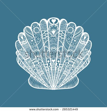 Zentangle stylized white sea shell. Hand Drawn doodle vector illustration isolated on blue background. Sketch for tattoo or makhenda. Seashell collection. Ocean life. - stock vector