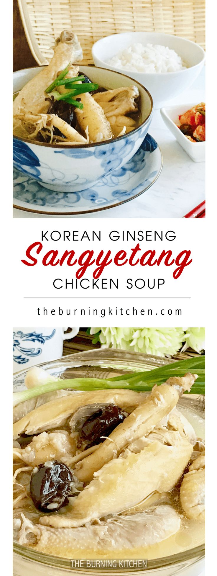 Korean Ginseng Chicken Soup, also known as Sangyetang, is a one-pot wonder that offers a great combination of nutritious soup and comfort food on cold and rainy days. It is also considered a tonic soup that is good for nourishing the body and help promote blood circulation.