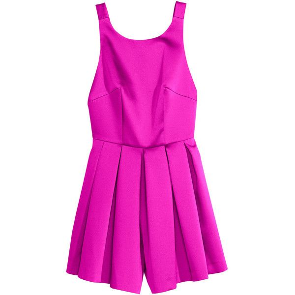 H&M Backless playsuit ($57) ❤ liked on Polyvore featuring jumpsuits, rompers, hm, jumpsuit, neon pink, backless rompers, neon pink romper, romper jumpsuit, h&m rompers and h&m romper
