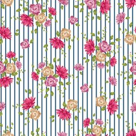 Flowers and Stripes by Petroula Tsipitori Seamless Repeat Vector Royalty-Free Stock Pattern