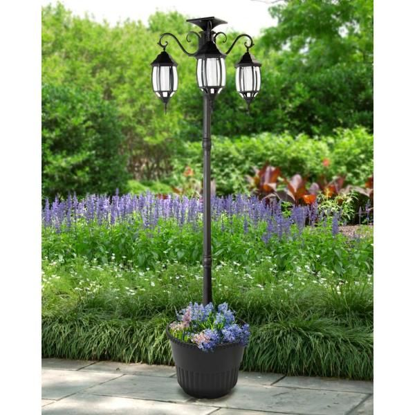 Sunray Madison 3 Light Black Integrated Led Solar Lamp Post And Planter 342013 The Home Depot In 2020 Solar Lamp Post Solar Light Crafts Solar Lamp