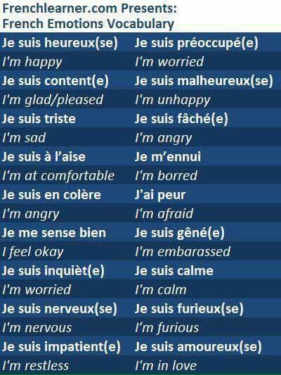French emotion vocabulary