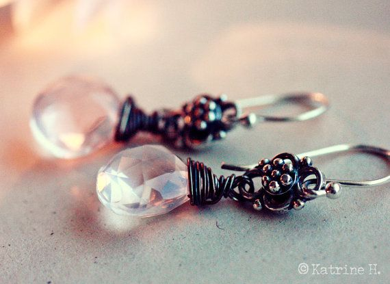 Beautiful Rose Quartz Earrings Faceted Heart by katrinehammer, $33.00