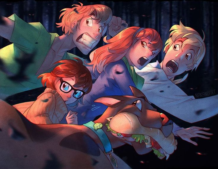 Love this combination of characters with various ways of reacting to the same thing.   Scooby Doo and the Crew by nakanoart on DeviantArt
