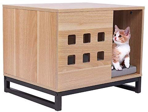 Amazon Com Bbvilla Rectangle Wooden Pet House Cat Boxes Furniture Log Cabin With Entrance And Vents In 2020 Cat Box Furniture Modern Pet Furniture Wooden Dog Kennels