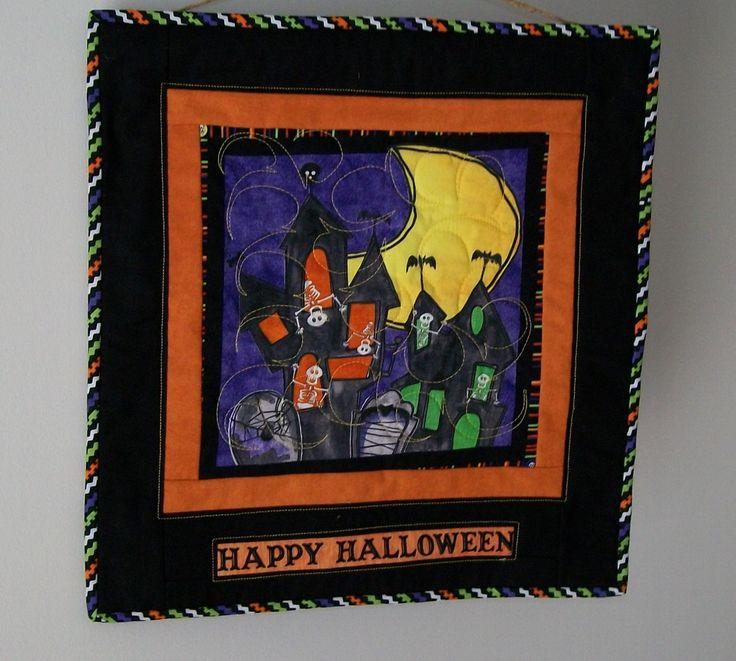 Halloween door hanging -  haunted spook house - skeletons bats spider - happy halloween scene wall quilt - purple green black orange hanger by ExpressionQuilts on Etsy