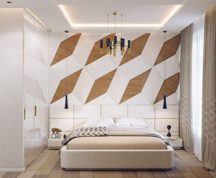 This bedroom features a big bold accent wall composed of an oversized mosaic of wooden rhombuses arranged in a gorgeous pattern