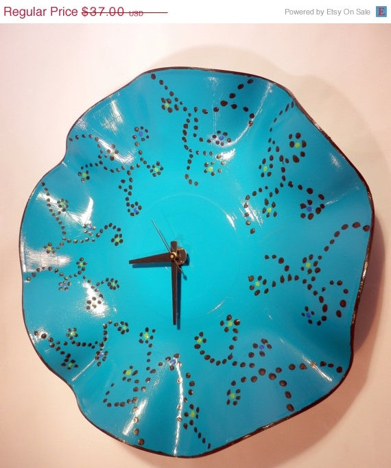 CIJ SALE  Teal Clock Home  Decor Hand  Record Clock by Shannybeebo, $31.45