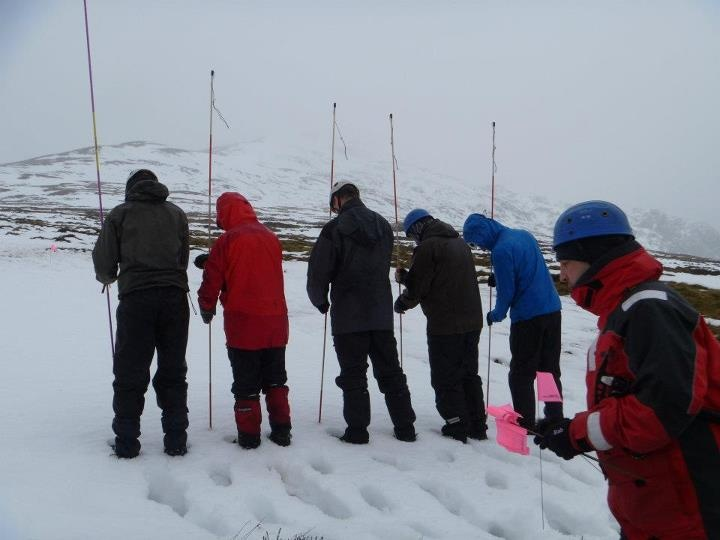 Probing practice on our Avalanche Rescue Awareness course in the Scottish Munro's www.venture-medicakl.com