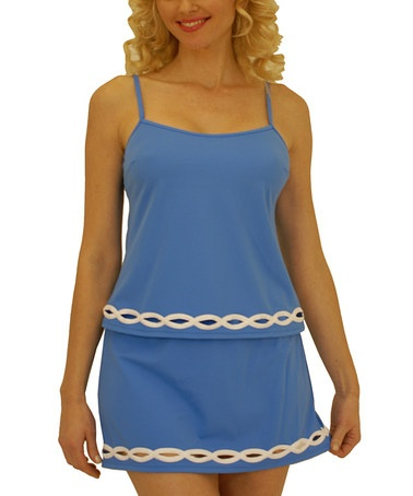 Very flattering on us plus size girls! Blue & Cream Tankini & Skirted Bikini Bottoms by Fit 4 U