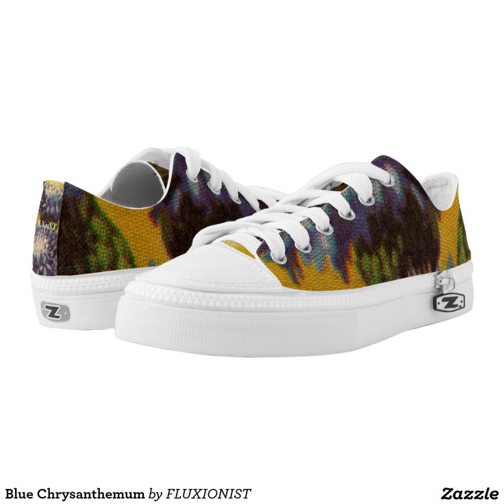 Blue Chrysanthemum Printed Shoes - $88.00 Made by Delta Custom / Design: Fluxionist