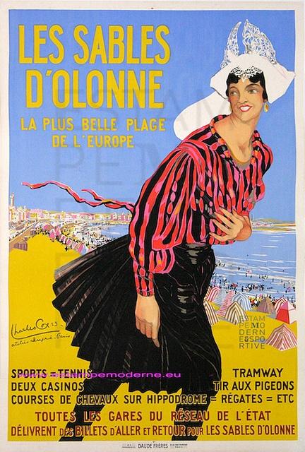 Charles Cox Les Sables D'Olonne Chemin de Fer de l'Etat France . Vintage Travel beach poster #essenzadiriviera