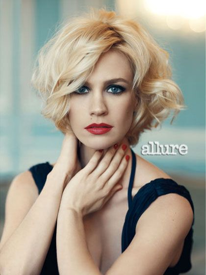 January Jones: Short Hair, Hairstyles, Hair Styles, January Jones, Wavy Bob, Makeup, Shorthair, Haircut