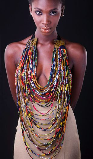 African Prints in Fashion: The thing around your neck - African print fabric beads. (This could be made with Free Trade paper beads from Africa, also.)